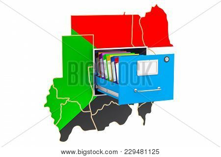 Sudanese National Database Concept, 3d Rendering Isolated On White Background