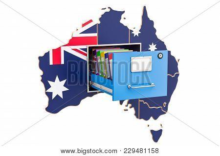 Australian National Database Concept, 3d Rendering Isolated On White Background