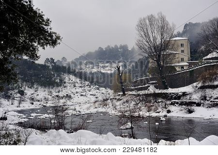 Le Gardon Snowy River In The French Region Of Cevennes And The Gard Department Next To Anduze