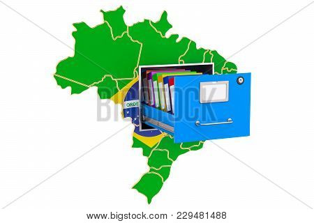 Brazilian National Database Concept, 3d Rendering Isolated On White Background