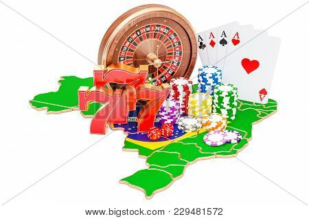 Casino And Gambling Industry In Brazil Concept, 3d Rendering Isolated On White Background
