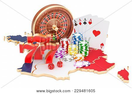 Casino And Gambling Industry In France Concept, 3d Rendering Isolated On White Background