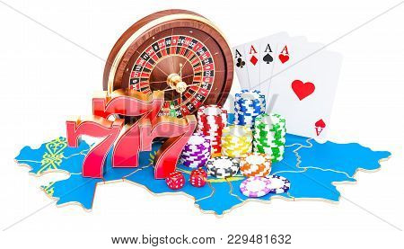 Casino And Gambling Industry In Kazakhstan Concept, 3d Rendering Isolated On White Background