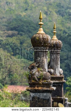 Madikeri, India - October 31, 2013: Turrets On Top Of Royal Mausoleum At Raja Tomb. Closeup With Bas