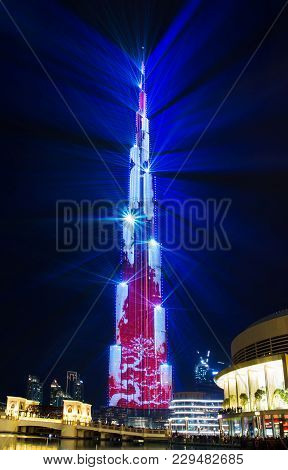 Dubai, United Arab Emirates - February 24, 2018: Laser Show On Burj Khailfa, Curently The World Tall