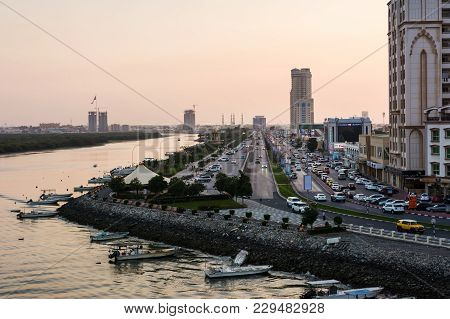 Ras Al Khaimah, United Arab Emirates - March 3, 2018: Ras Al Khaimah Corniche Road And Creek At Dusk
