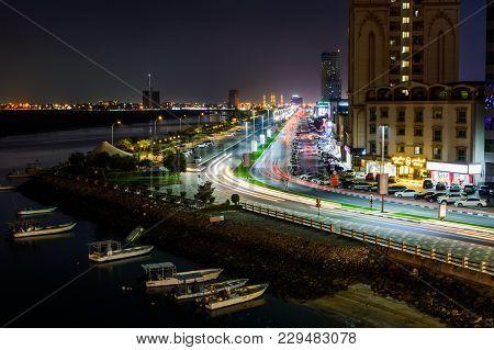Ras Al Khaimah, United Arab Emirates - March 3, 2018: Ras Al Khaimah Corniche Road With Light Trails
