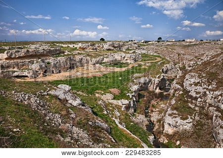 Gravina In Puglia, Bari, Italy: Landscape Of The Countryside With The Ancient Cave Houses Dating Bac