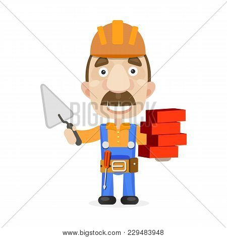 Construction Workers Team. Vector Illustration Symbol Building