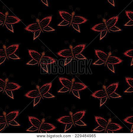 Embroidery Stitches Imitation Fashion Seamless Pattern With  Butterfly. Insect Embroidery On Black B