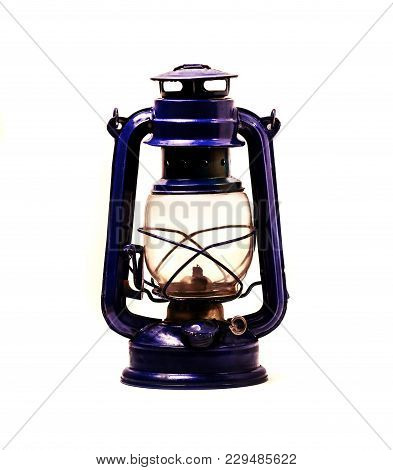 Old Kerosene Lamp On White Background. There Is A Way