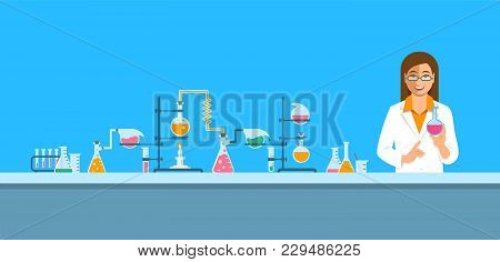 Chemist In Chemical Laboratory. Flat Vector Background. Cartoon Horizontal Banner. Woman Scientist I