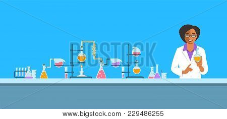 Chemist In Chemical Laboratory. Flat Vector Background. Cartoon Horizontal Banner. Black Woman Scien