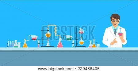 Chemist In Chemical Laboratory. Flat Vector Background. Cartoon Horizontal Banner. Man Scientist In