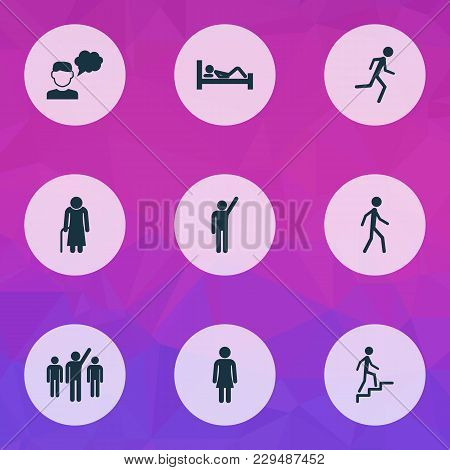 People Icons Set With Leader, Walking, Thinker And Other Old Woman Elements. Isolated Vector Illustr