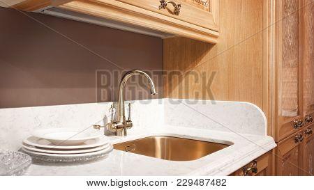 Kitchen Interior, Modern Kitchen With A Luxury Mixer, Breakfast Concept, Kitchen Background, Concept