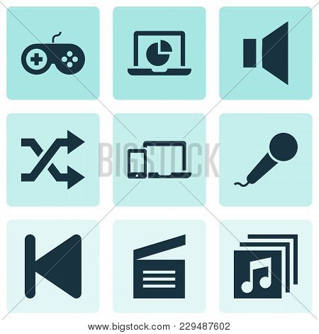 Multimedia Icons Set With Joystick, Albums, Movie Clap And Other Infographic Elements. Isolated Vect