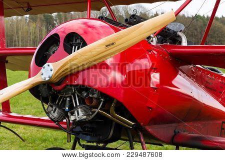 Plasy, Czech Republic - April 30: Red Fokker Dr.i Dreidecker Triplane Stands On Airport On April 30,