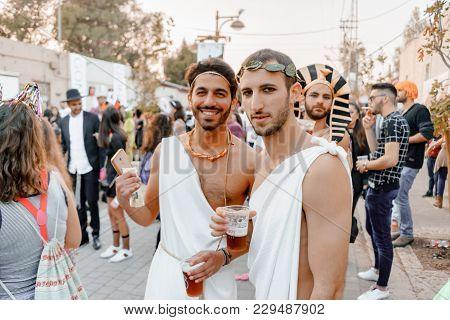 Beer Sheva, Israel - March 01, 2018: Purim Carnival On The Street In Beer-sheva. Happy Purim Day In