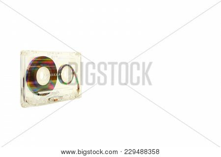 Audio Cassette On White Background Wallpaper Textures Retro Old Vintage Melody Nostalgia Modern Time
