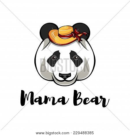 Panda In Wide-brimmed Hat. Mame Bear. Mother S Day Greeting Card. Vector Illustration.