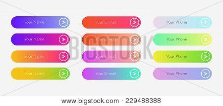 Web Buttons Flat Design Template
