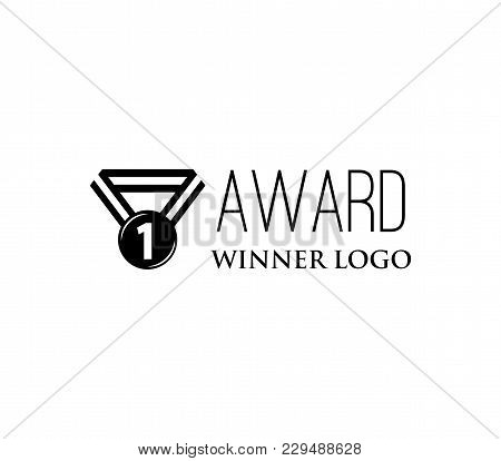 Vintage Medal Icon. Winner Logo. Award. Vector Illustration Isolated On White Background.