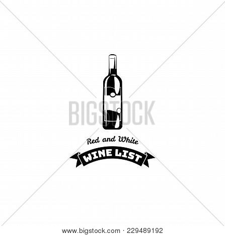 Wine List Design For Bar And Restaurant. Wine Bootle Icon. Vector Illustration With Black Ribbon Il