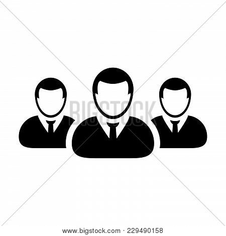 People Icon Vector Group For Male Business Team Management Person Avatar Symbol In Glyph Pictogram I