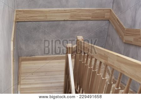 Natural Ash Tree Wooden Stairs With Railings.