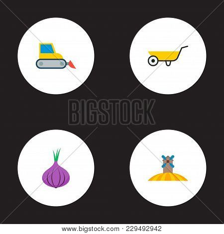 Set Of Harvest Icons Flat Style Symbols With Harvester, Field, Onion And Other Icons For Your Web Mo
