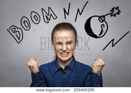 Photo Of Young Woman With Emotions On Grey Background