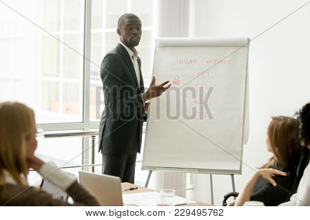 Confident African Speaker Gives Presentation To Multiracial Sales Team With Flipchart, Black Busines