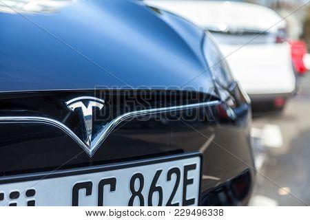 Fuerth / Germany - March 4, 2018: Tesla Logo On A Tesla Car Tesla, Inc. Is An American Company That