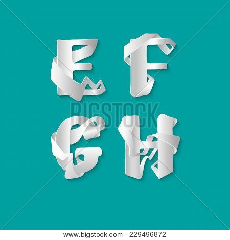 Vector Decorative 3d Alphabet Isolated Set Of Uppercase Letters. White Elegant Letter E, F, G, H. Fo