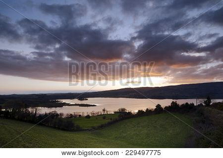 A Sunset View Of Lough Eske In Donegal.