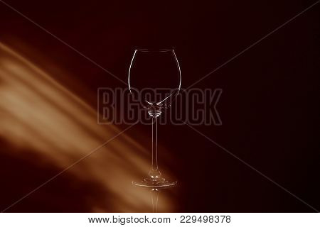 Backlight Shape Of Wineglass And Reflected Light
