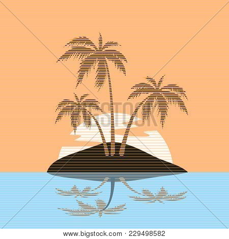 Beach Theme. Vector Striped Illustration Of The Wave, Tropical Island In The Sea Or Ocean, Palm Tree