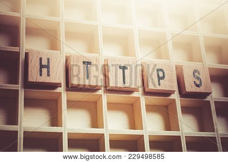 Macro Of The Word Https Formed By Wooden Blocks In A Typecase
