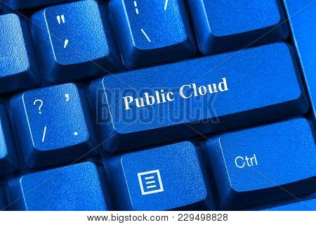 Blue Toned Computer Keyboard With Public Cloud Button