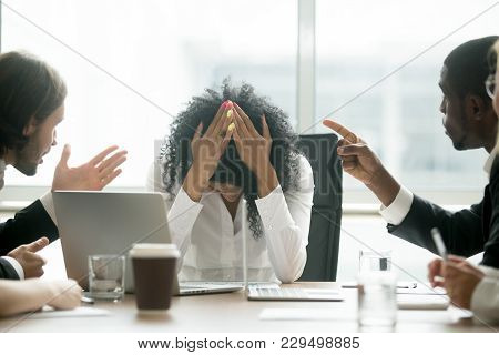 Upset Depressed Black Woman Leader Suffering From Gender Discrimination Inequality At Work, Diverse