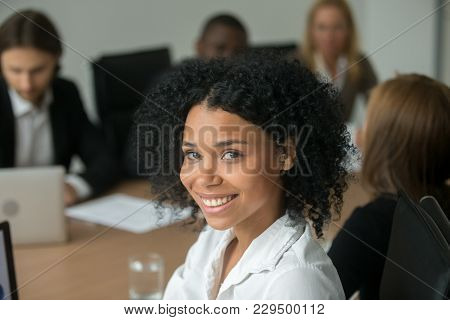 African American Attractive Businesswoman At Meeting, Smiling Black Employee, Team Leader Or Profess