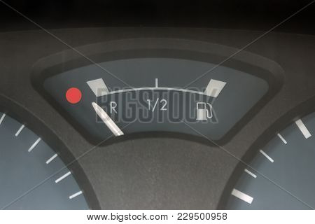 Empty Tank Indicator On Car Dashboard. Concept - Economic Crisis, Deficit, Lack Of Money, Lack Of St