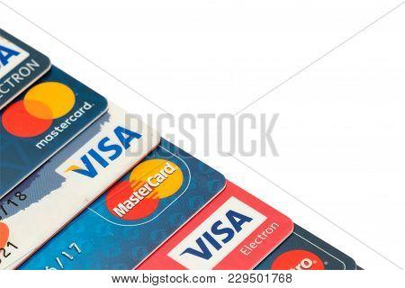 Sarajevo, Bosnia And Herzegovina - March 04, 2018: Closeup Pile Of Credit Cards, Visa And Mastercard