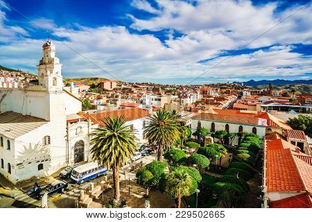 View On Colonial Town Of Sucre In Bolivia