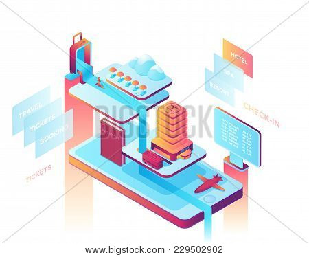 Mobile Travel Concept, Landing Page Template With Isometric 3d Icons Of  Hotel, Airplane, Smartphone