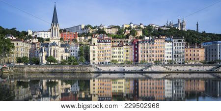 Beautiful View Of Saone River In Lyon, France