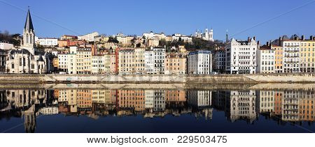 Beautiful View Of Lyon And Saone River In France