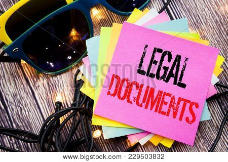Word, Writing Legal Documents. Business Concept For Contract Document Written On Old Wood Wooden Bac