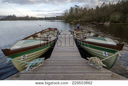 Two Freighter Canoes Moored On Lough Eske, Donegal.